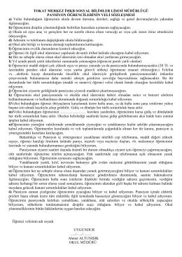 Veli Sözleşmesi - Tokat Merkez İMKB Sosyal Bilimler Lisesi