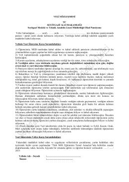 Veli Sözleşmesi için Tıklayınız. - ESKİŞEHİR / SEYİTGAZİ / Seyitgazi