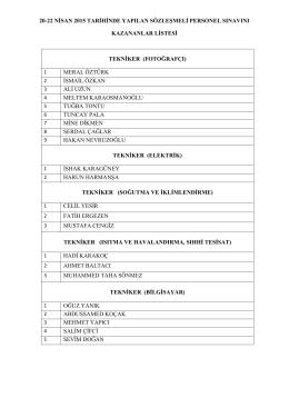 20-22 nisan 2015 tarihinde yapılan sözleşmeli personel sınavını