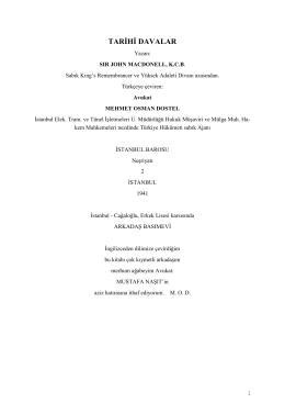 Tarihi Davalar - Sir John Macdonell, K.C.B.