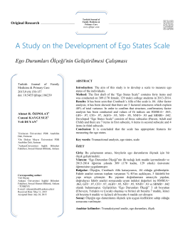 A Study on the Development of Ego States Scale