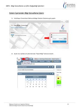 Sistem İçerisinden Bilgi Güncelleme İşlemi - EBYS`ye giriş