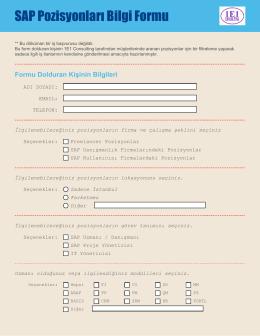 SAP Pozisyonları Bilgi Formu
