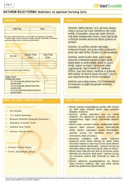 Katılımcı İçin Aktarım Bilgi Formu