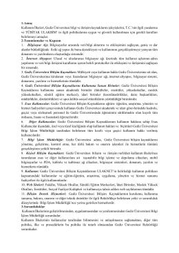 Gediz Üniversitesi Bilgi ve İletişim Kaynakları Yönergesi