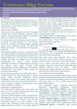 Yatırımcı Bilgi Formu - Tacirler Portföy Yönetimi A.Ş