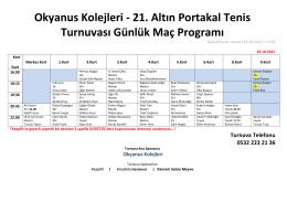 Okyanus Kolejleri - 21. Altın Portakal Tenis Turnuvası Günlük Maç