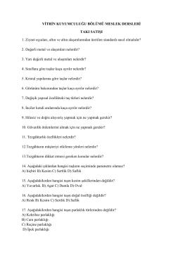 Takı Satışı Dersi Soruları