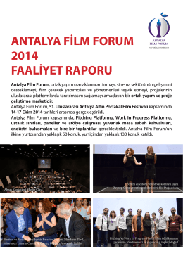 ANTALYA FİLM FORUM 2014 FAALİYET RAPORU