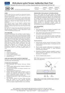 Helicobacter pylori Serum Antikorları Kart Test