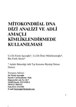 mitokondrial dna dizi analizi ve adli amaçlı