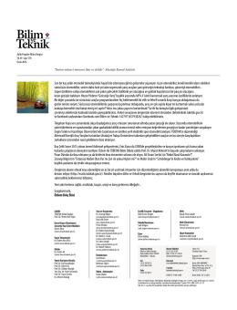 Dergi Çalışanlarımız ve Giriş Yazımız - Bilim Teknik