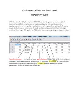 bilgisayarda eğitim istatistiği dersi final sınavı ödevi