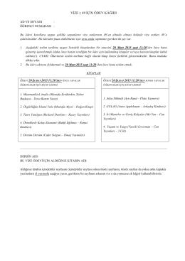Mesleki İngilizce Derse Hazırlık Ödev Kağıdı