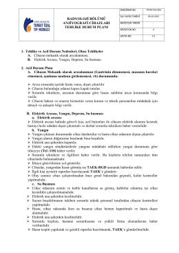 TOTM-PLN-026 Radyoloji Bölümü Anjiyografi Cihazı Tehlike Durum