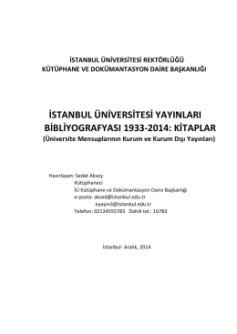 istanbul üniversitesi yayınları bibliyografyası 1933