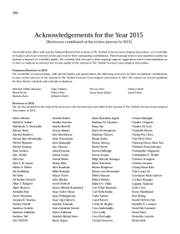 Acknowledgements for the Year 2015