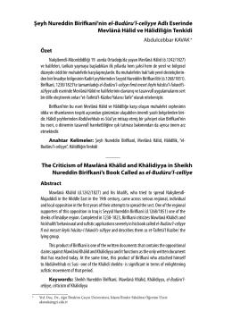 Şeyh Nureddin Birîfkanî`nin el-Budûru`l-celiyye Adlı