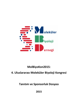 MolBiyoKon2015: 4. Uluslararası Moleküler Biyoloji Kongre