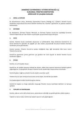 Kurumsal Yönetim Komitesi PDF