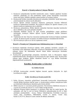 Komisyon ve Kurulların Çalışma İlkeleri