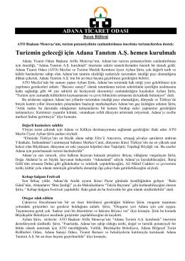 ato-turizm bülteni - Adana Ticaret Odası