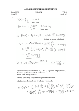 MASSACHUSETTS TEKNOLOJİ ENSTİTÜSÜ Bahar 2006 Fizik 8.04