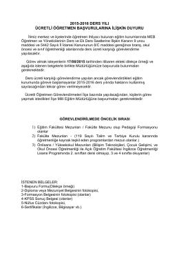 Ücretli Öğretmen Başvuru Duyurusu 05 Ağustos 2015