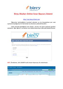 Birey Okulları Online Sınav Başvuru Sistemi