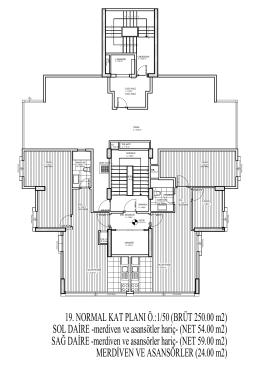 19. NORMAL KAT PLANI Ö.:1/50 (BRÜT 250.00 m2) SOL DAİRE