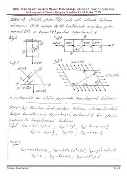 KOÜ. Mühendislik Fakültesi Makine Mühendisliği Bölümü (2. Sınıf