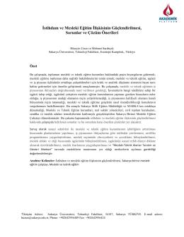 İstihdam ve Mesleki Eğitim İlişkisinin Güçlendirilmesi, Sorunlar ve