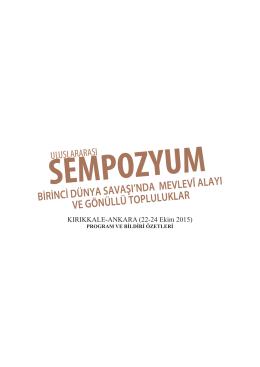 Sempozyum Programı ve Bildiri Özetlerini görmek için tıklayınız