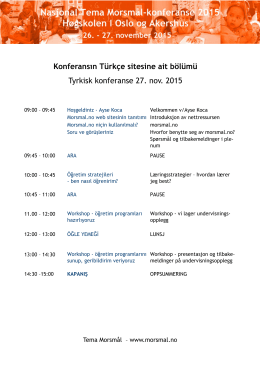 Konferansın Türkçe sitesine ait bölümü Tyrkisk konferanse