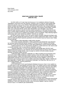 VUK Genel Tebliği Sıra No 455