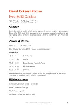 DCK Koro Şefliği Çalıştayı - Devlet Çoksesli Korosu