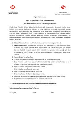 Katılım Belgesi Alma Koşulları - Stres Yönetimi Araştırma ve