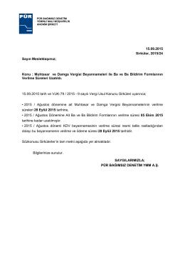 2015-24 (Beyanname ve Bildirim Formlarının Verilme