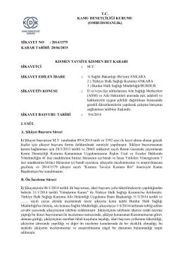 Dosya No: 2014/1579 - Aile Hekimleri Arasında Eşit, Adaletli ve