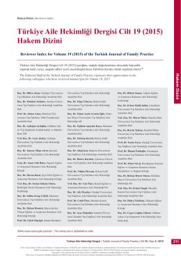 Türkiye Aile Hekimliği Dergisi Cilt 19 (2015) Hakem Dizini