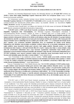 T.C. ADANA VALİLİĞİ Halk Sağlığı Müdürlüğü ADANA İLİ AİLE