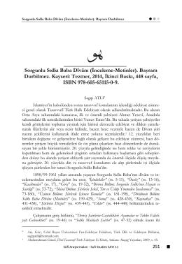 Sorgunlu Sıdkı Baba Dîvânı - Sufi Araştırmaları Dergisi