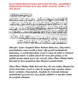 Mürşid-i Azam (Arapkirli Ömer Ruhani Baba (ks) ) Hazretleri
