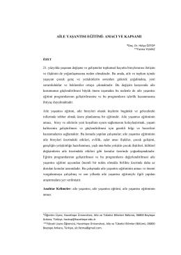 aile yaşantısı eğitimi - Hacettepe Üniversitesi Sosyolojik Araştırmalar
