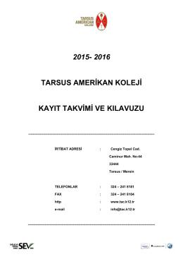 2015- 2016 tarsus amerikan koleji kayıt takvimi ve kılavuzu