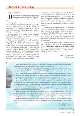 Amerika`da Türk Varlığı - Türk Dünyası Araştırmaları Vakfı