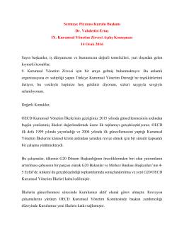 Sermaye Piyasası Kurulu Başkanı Dr. Vahdettin Ertaş IX. Kurumsal