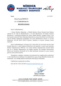 Sayın 14.12.2015 Recep Tayyip ERDOĞAN T.C.