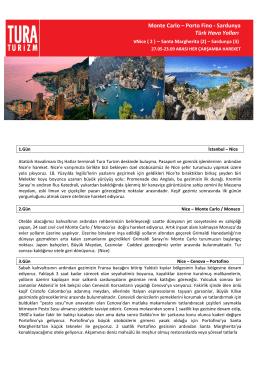 Monte Carlo – Portofino – Sardunya Seyahati