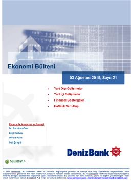 Ekonomi Bülteni - DenizBank Özel Bankacılık
